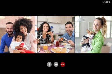 Screenshot of video chat of stay at home friends, during isolation in time of COVID-19